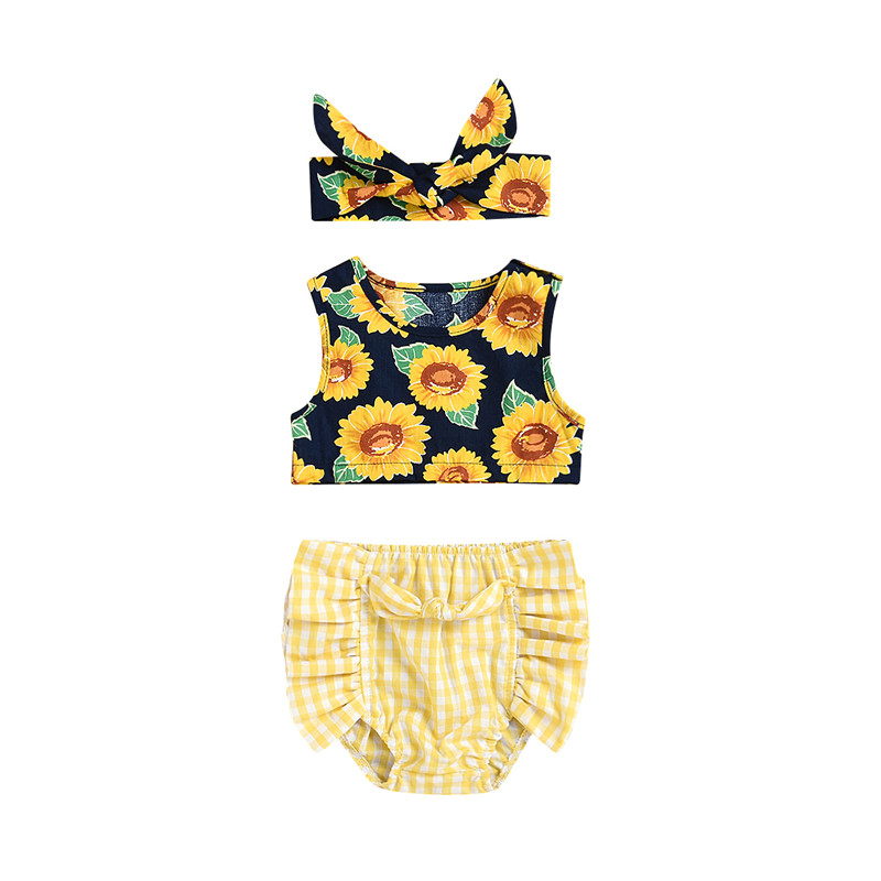 Fashion Summer Clothes For Girls Pretty Toddler Baby Girl Sunflower Pattern Sleeveless Tops Vest Plaid Shorts Briefs 3Pcs Outfit