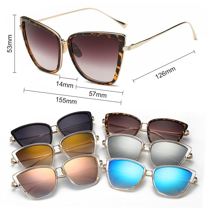 SIMPRECT Retro Big Cat Eye Sunglasses Women 2019 Black Mirror Sun Glasses Fashio