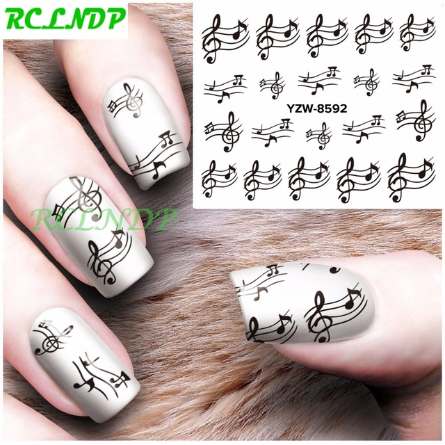 Water sticker for nails art decoration sliders black musical notes ...