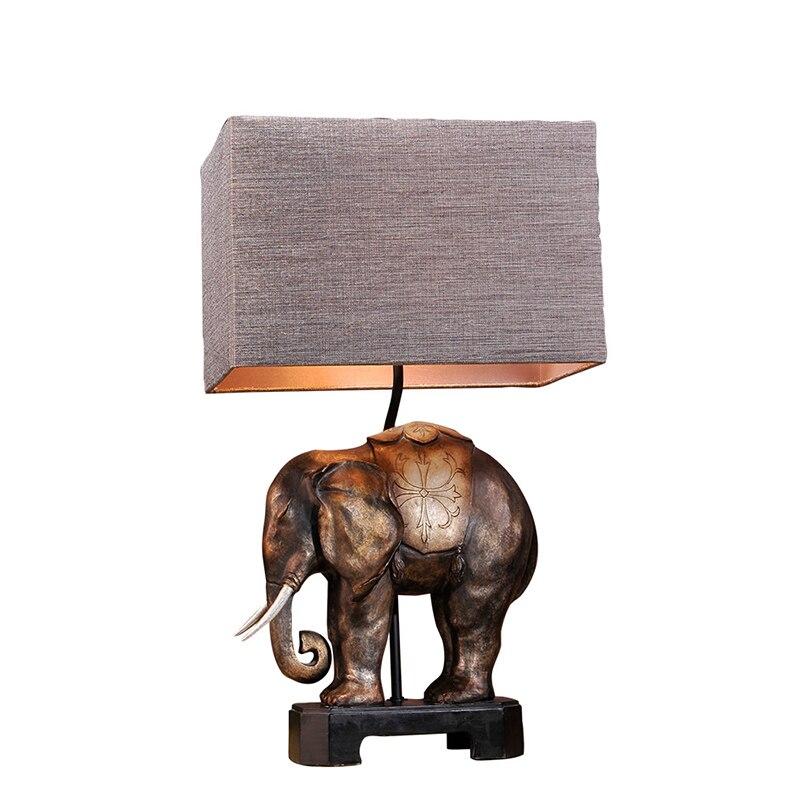 Vintage fait à la main exotique asie du sud-est résine éléphant Fabrci Led E27 lampe de Table pour salon étude Bar H 68 cm 80-265 v 1217