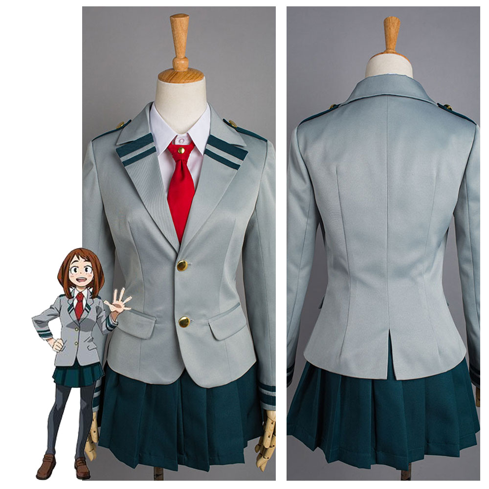 (In Stock) Boku No Hero Academia OCHACO URARAKA Cosplay Costume My Hero Academia Asui Tsuyu Cosplay Costume School Uniform Dress