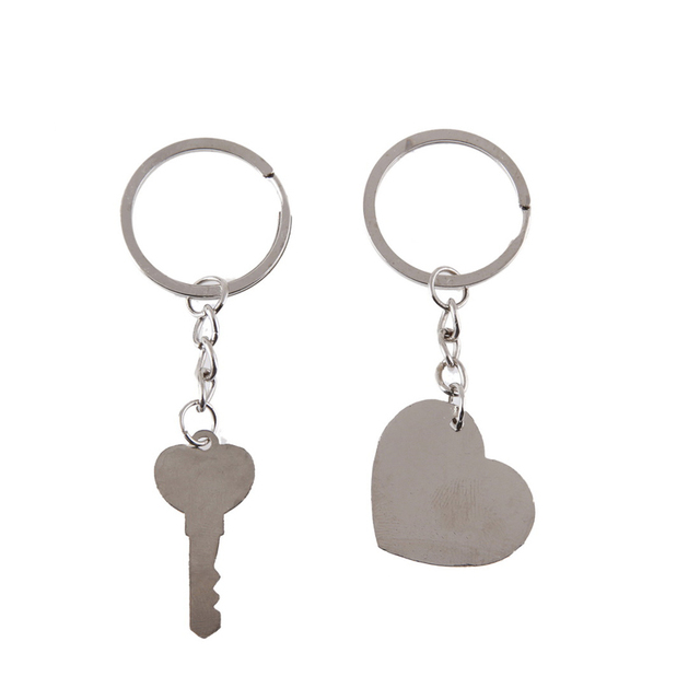 1 Pair Couple I LOVE YOU Letter Keychain Heart Key Ring Silvery Lovers Love Key Chain Souvenirs Valentine's Day Jewelry Gifts 3