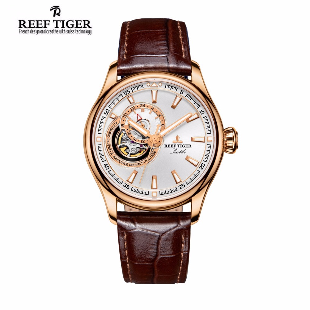Reef Tiger Luxury Brand Watches Reloj Hombre Men Sport Rose Gold Tourbilon Automatic Leather Waterproof Watch Relogio Masculino reef tiger brand men s luxury swiss sport watches silicone quartz super grand chronograph super bright watch relogio masculino