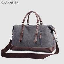752740b6fb5c CARANFIER холщовая кожаная мужская сумка 22 ''дорожная сумка для багажа  Мужская вещевая дорожная сумка