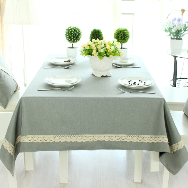 Cotton Linen Modern Solid Color Table Cloth Home Wedding Party Banquet  Decoration Lace TableCloth Multiple Sizes