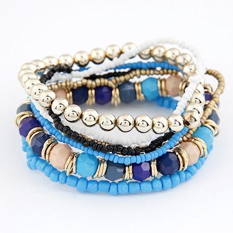 2017 Bohemian Fashion Jewelry MutiLayer Beads Bracelets & Bangles for Women Elastic Strand Pulseras Mujer Femme Bijouterie