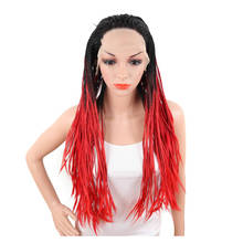 Deyngs Ombre Braid Long Straight Lace Front Wig Two Tone Dark Root Gray Red Blonde Color Women Lace Hair Natural Synthetic Fiber
