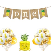 Hawaiian Baby 1ST Birthday Banner Pineapple Tropic Bunting Garland Summer Luau Beach Party birthday Hanging Decoration