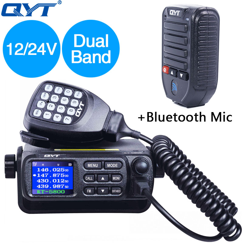 QYT KT 5800 12 24V VHF UHF Dual Band Mobile Transceiver TrucK Quad Standby Color Screen