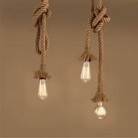 SUNLI HOUSE Retro Rope Pendant Light Lamp Loft Personality Industrial Vintage Lamp Edison Bulb American Style