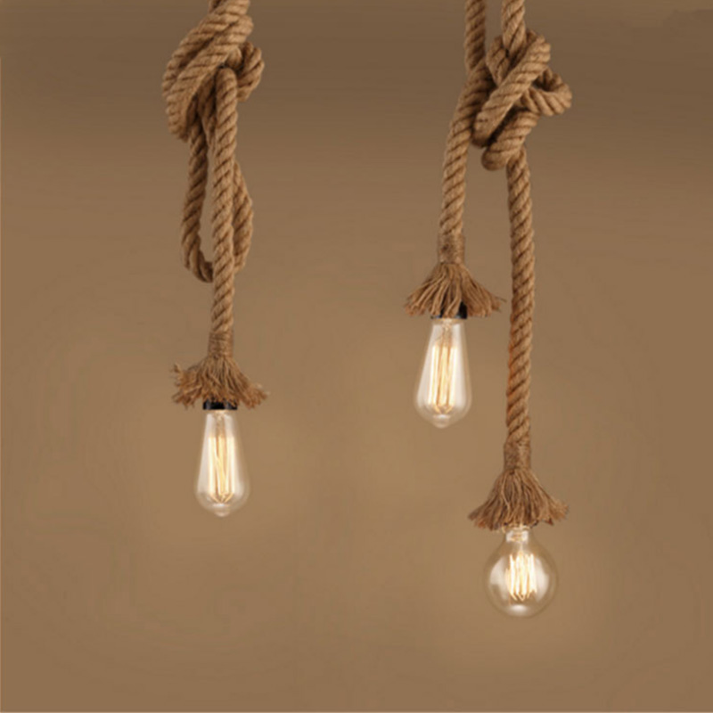 Retro Rope Pendant Light Lamp Loft Personality Industrial Vintage Lamp Edison Bulb American Style For Living Room