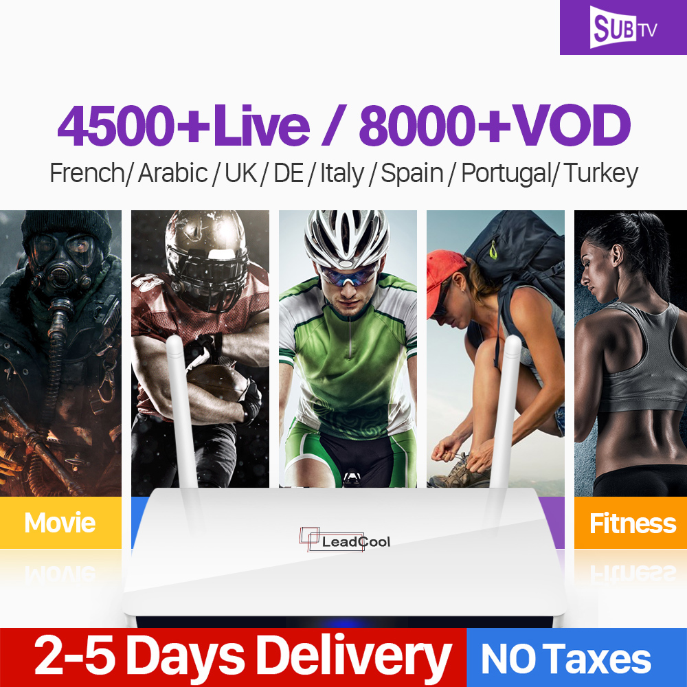 Leadcool Smart Android TV Box SUBTV Code Subscription Full HD French IPTV Box Turkey Portugal Italia French Arabic Channel IP TV full hd french iptv arabic brazil iptv box android 6 0 smart tv box subtv code subscription 3500 turkish albania ex yu iptv box