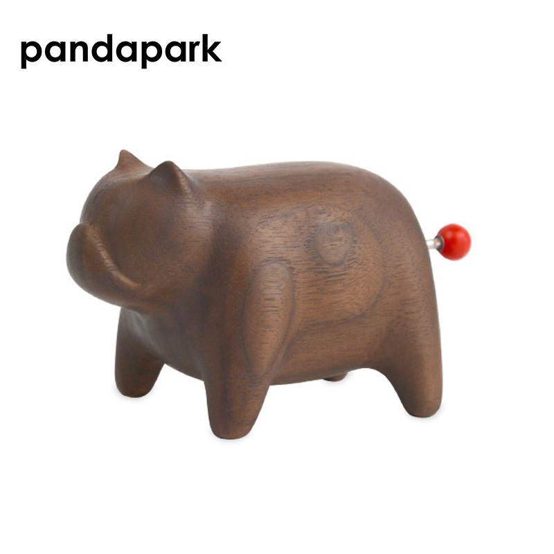 Dog Shape Wooden Artware Wood Music Box Hand Cranked Classical Black Walnut Canon Music Box Creative Girls Gift 1 Piece PPM034 in Music Boxes from Home Garden