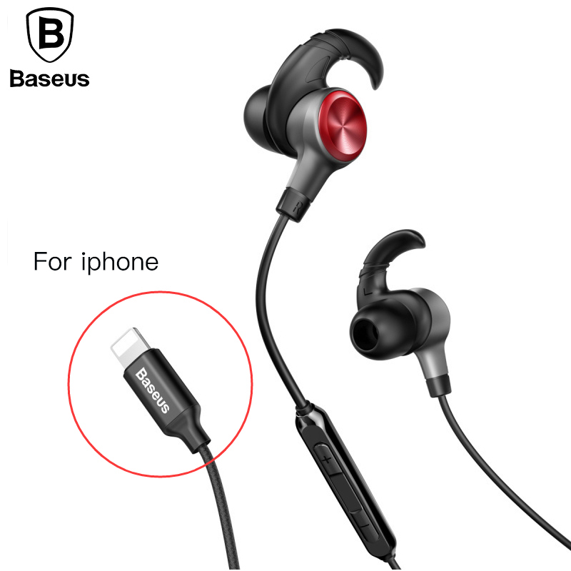 Baseus Earphone For Lightning in-ear Earphones for iPhone 7 8 6s 6plus 8pin Hifi Earbuds Headset fone de ouvido With Mic for ios doosl metal earphone noise isolating earbuds hifi music in ear wired for iphone ios android cellphones pc fone de ouvido