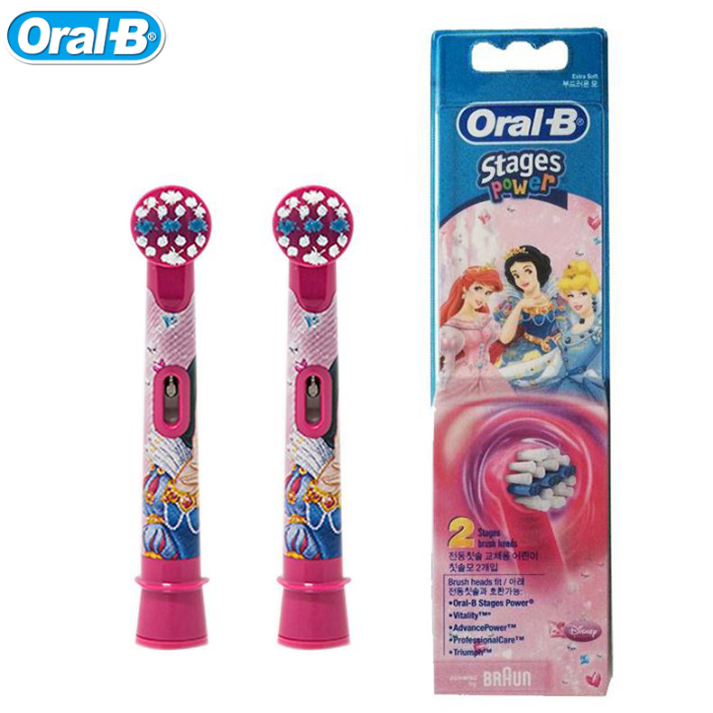 Oral B Children's Electric Toothbrush Heads EB10-2K Imported From Germany Princess (2 PCS=1 Pack) Tooth Brush Heads crest seven effect toothbrush buy 1 get 1 twin pcs pack crest america imported genuine special tooth brushes 20pcs 10packs