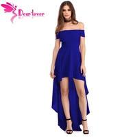 Dear Lover Sexy Party Gown 2017 Summer Women Blue High Low Hem Off Shoulder Dress Vestido