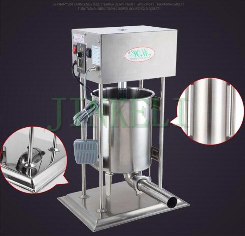 18 automático 10l salchicha de carne Embutidoras Acero inoxidable eléctrico 110 V comercial 4 tubos salchicha salami fabricante máquina