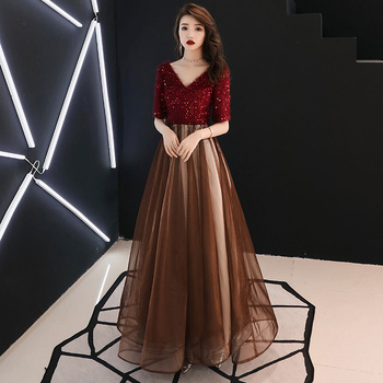 2020 Elegant Sequined Evening Dresses Long V-Neck Evening Gowns Long Party Gowns Robe De Soiree Sexy Formal Dresses LF176