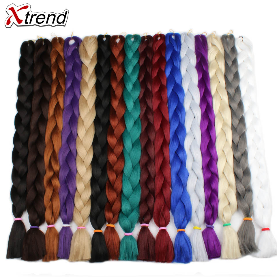 Extensiones de cabello trenzado sintético Xtrend 82 pulgadas 165 g/paquete de trenzas largas Jumbo de ganchillo pelo a granel púrpura Rosa gris azul puro color