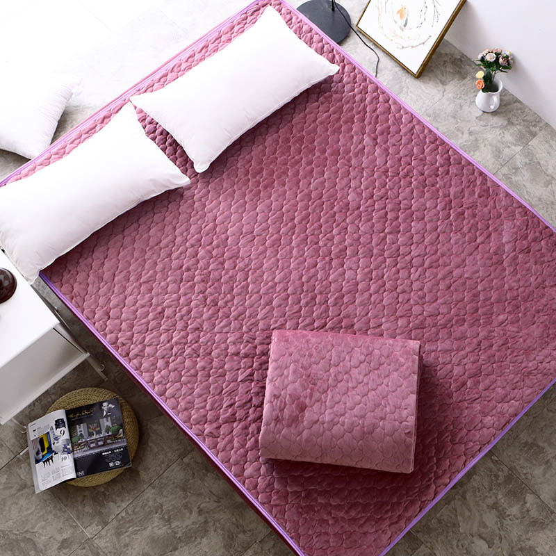 Solid Color Mattress Cover High Quality Velvet Bed Protection Pad Fiber Filling Keep Warm In Covers Grippers From Home Garden On