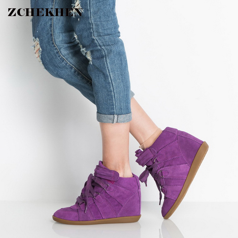 Women Purple Suede Leather Ankle Boots Female increased Platform short boots Hook Loop Sneakers Casual botas mujer