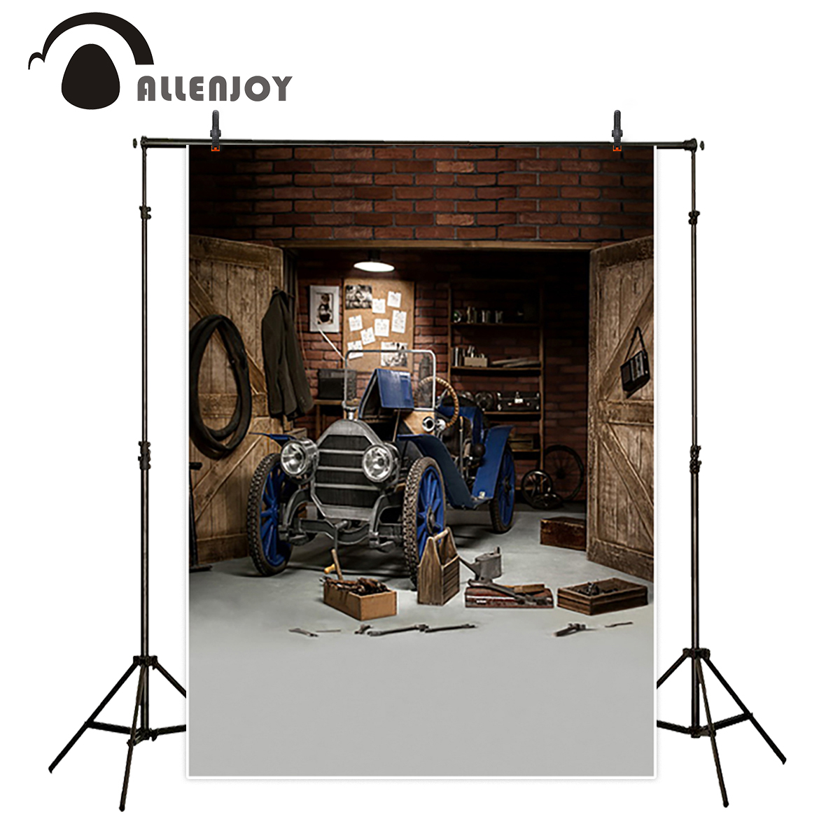 Allenjoy studio Photo background Dark blue repair vintage car red brick wall photocall photo background photography backdrop twister family board game that ties you up in knots