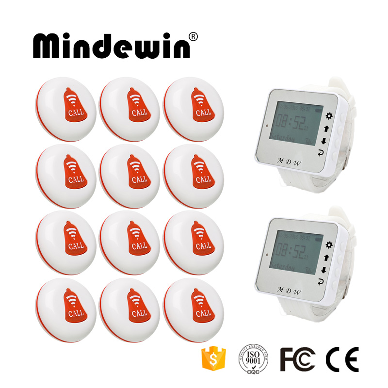 Mindewin Wireless Calling System for Restaurant Paging System 2PCS Wrist Watch Pager M-W-1 and 12PCS Table Call Button M-K-1 wireless pager system 433 92mhz wireless restaurant table buzzer with monitor and watch receiver 3 display 42 call button