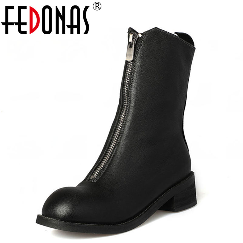 FEDONAS Brand Women 100% Sheepskin Mid-calf Shoes Woman Thick Heeled Genuine Leather Motorcycle Boots Women Autumn Winter Boots mabaiwan handmade rivets military cowboy boots mid calf genuine leather women motorcycle boots vintage buckle straps shoes woman