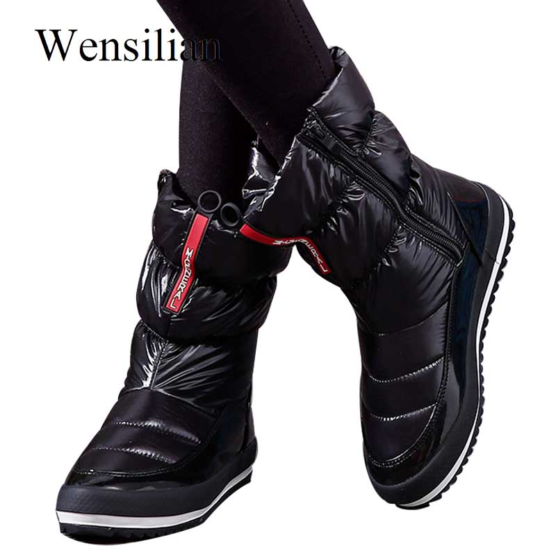 Fashion Winter Boots Women Platform Casual Ankle Down Snow Boots Female Zip Waterproof Warm Cotton Plush Shoes For Woman Botas