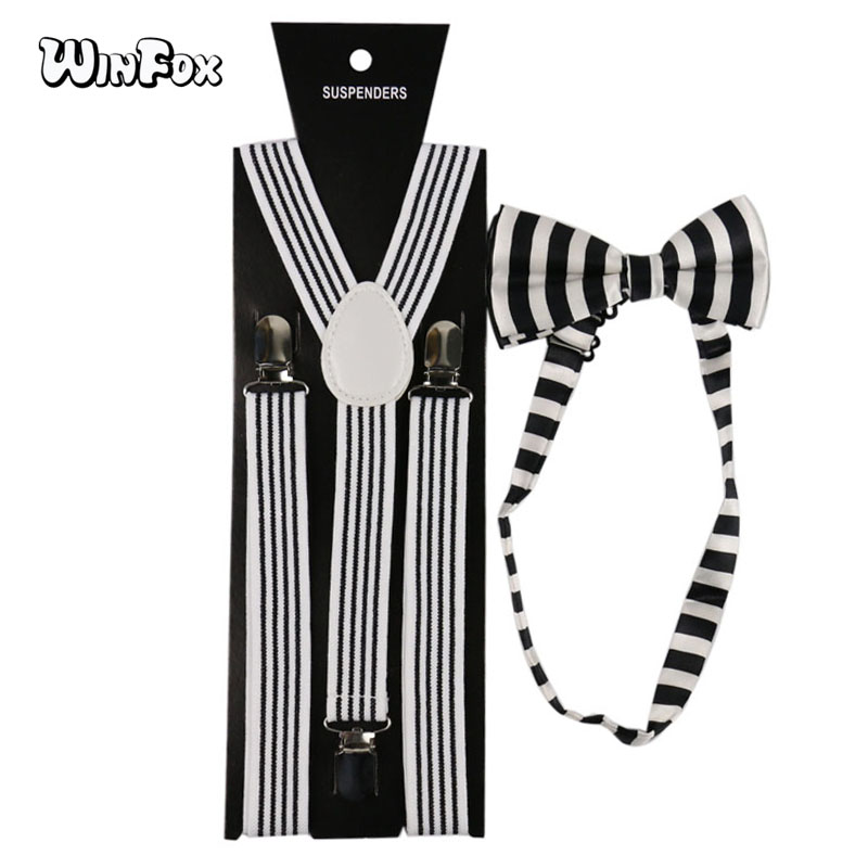 Winfox Vintage Black White Suspenders Striped Women Men Suspender Bow Tie Set Brace