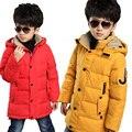-40 зимняя куртка мальчики белая утка вниз пальто дети верхняя одежда пальто письмо J мода капюшоном с длинным теплый толстые мальчики парки пальто