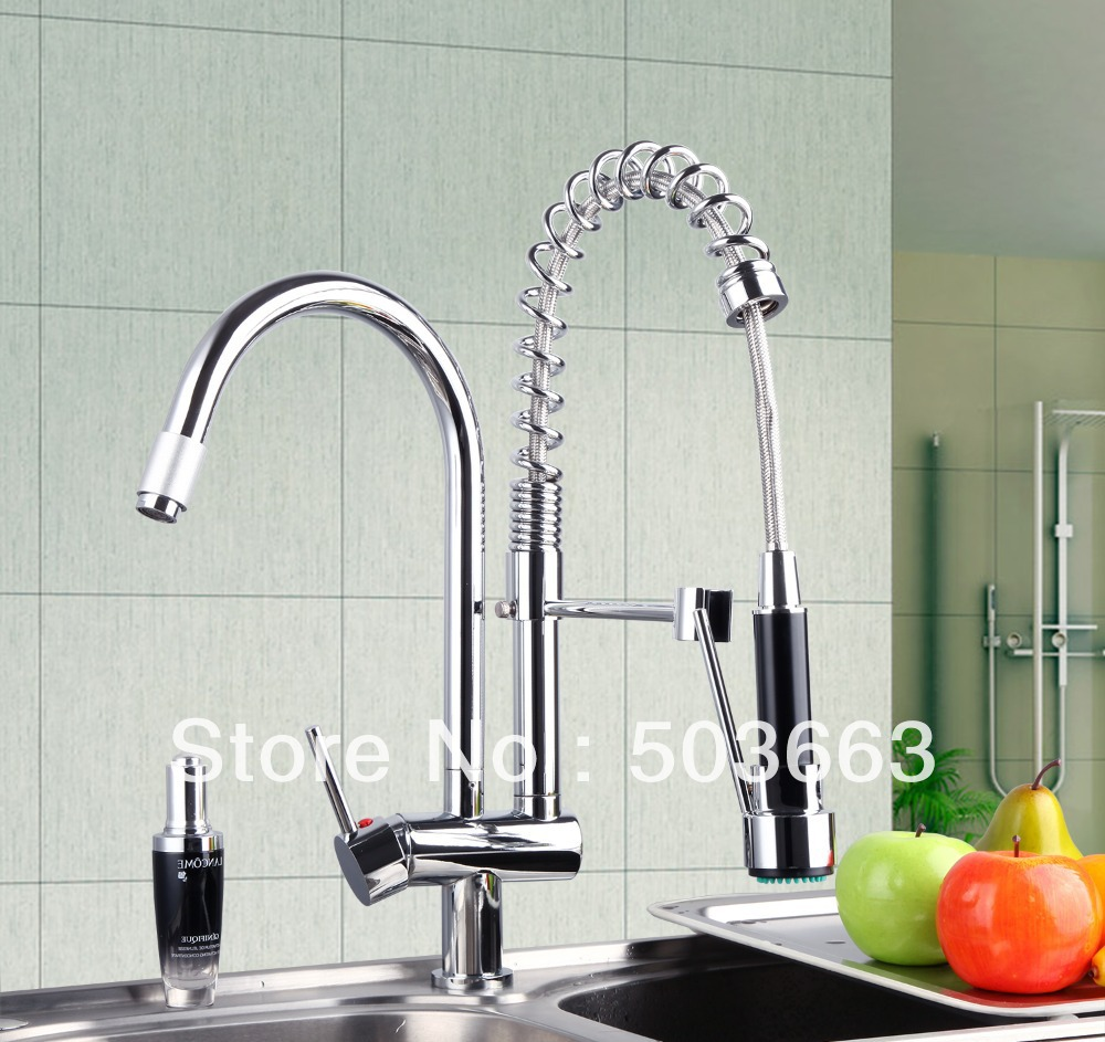 Newly Double Handles Free Chrome Brass Water Kitchen Faucet Swivel Spout Pull Out Vessel Sink Single Handle Mixer Tap MF-281 led spout swivel spout kitchen faucet vessel sink mixer tap chrome finish solid brass free shipping hot sale