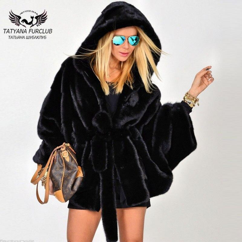 Татьяна 2018 новый битой Тип черный реального норки пальто с большим капюшоном Женская Высокая мода норки Куртки Популярные шуба