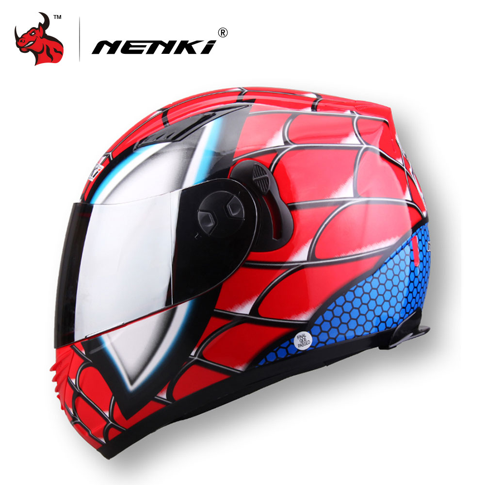 NENKI Motorcycle Helmet Double Lens Full Face Racing Helmet Iron-Man Motocross Helmet Motorbike Casque M /L /XL /XXL nenki motorcycle helmets motocross racing helmet motorbike full face helmet capacete de moto for men and women 13 color