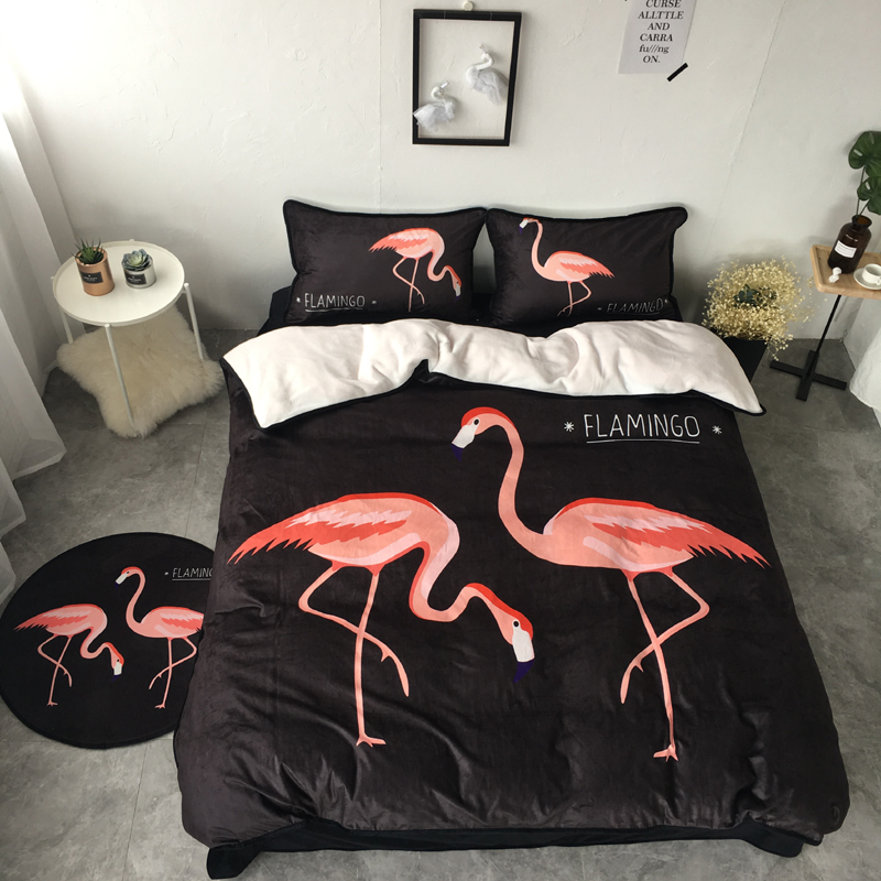 Warm winter bedclothes black white Red Flamingo thick fleece queen Twin size bedding sets 4pcs bed sheet set duvet cover pillowcWarm winter bedclothes black white Red Flamingo thick fleece queen Twin size bedding sets 4pcs bed sheet set duvet cover pillowc