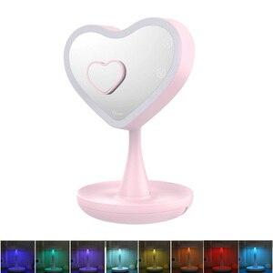 Lampa LED w kształcie serca lustro do makijażu z 3-krotnym lupą, biurko lustro kosmetyczne z lampką nocną i przechowywanie kosmetyków