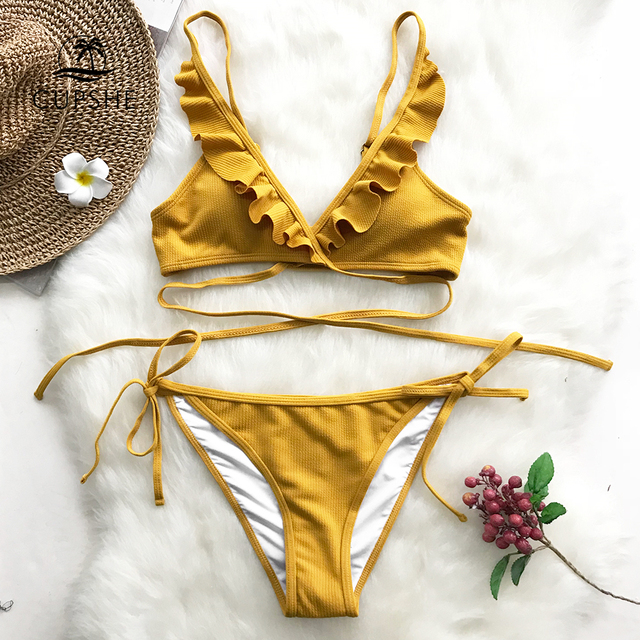 Swimwear: Yellow Ruffle Backless Bikini Sets