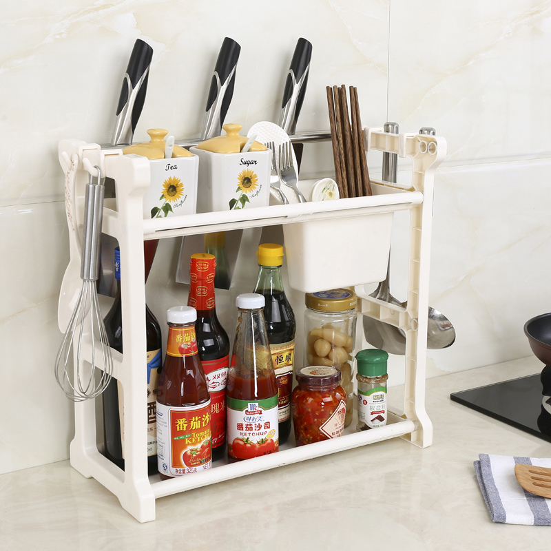 050 Multifunctional double deck rack for kitchen knife holder chopsticks barrel receiver rack kitchen storage rack 41 19 25cm in Racks Holders from Home Garden