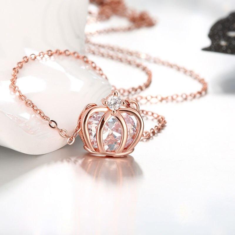 Fensky Hot Sale Rose Gold Color Necklace Ladies Crown Molding
