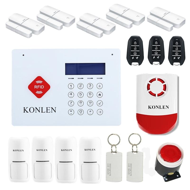 imágenes para RFID Antirrobo Sistema de Alarma de Su Casa GSM antirrobo inalámbrica para Smart casa de Seguridad de Voz Del Timbre Del LCD Android con 6 Kit de Alarme 433
