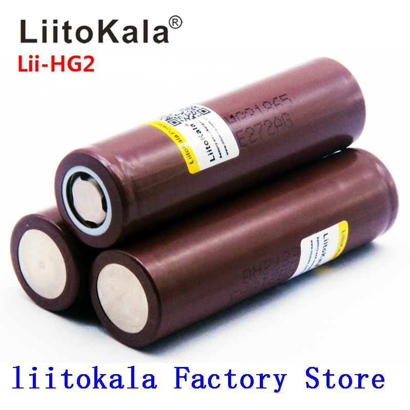2019 NEW LiitoKala HG2 18650 Battery 3000mah Rechargeable Batteries Power High Discharge,30A Large Current
