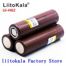 2019 nowa bateria LiitoKala HG2 18650 3000mah akumulator moc baterii wysokie rozładowanie 30A prąd o dużym napięciu tanie tanio 3000 mah Li-ion HG2 3000mah Baterie Tylko 1-10pcs 18*65mm