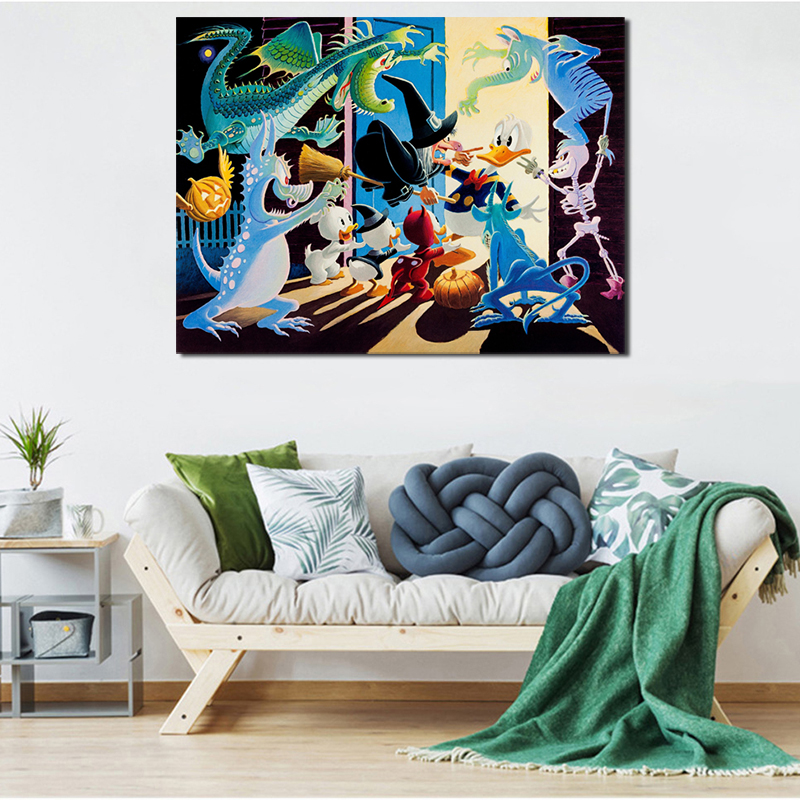 Scrooge Mcduck Halloween In Duckburg Canvas Painting Print Living Room Home Decor Modern Wall Art Oil Painting Poster Pictures in Painting Calligraphy from Home Garden
