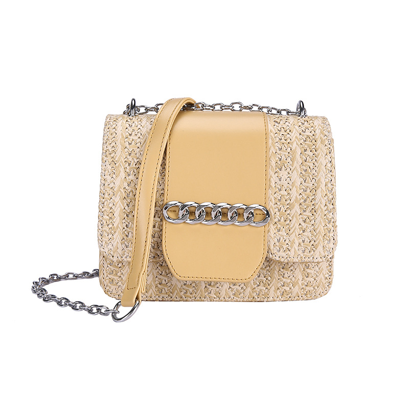2019 New Straw Bags Women Summer Square Chain Rattan Bag Lady Handmade Woven Beach CrossBody Bag Bohemia Handbag Travel Vocation in Shoulder Bags from Luggage Bags