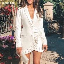 Spring Autumn Sexy V-neck Ruffles Party Dress Women Long sleeve Elegant A-line Mini White Office Ladies Blazer Dresses Vestidos