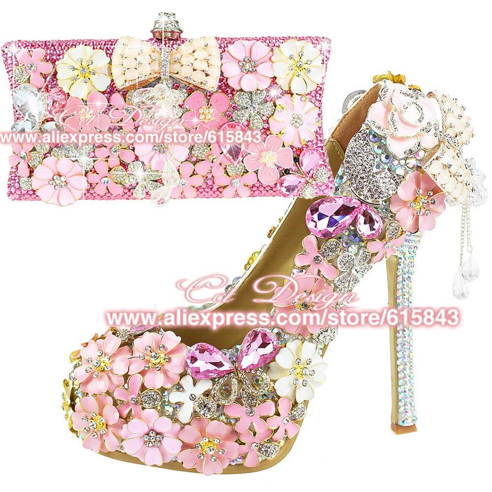 Sexy Women Shoes Platform Pink Flowers High Heels Rhinestone Wedding