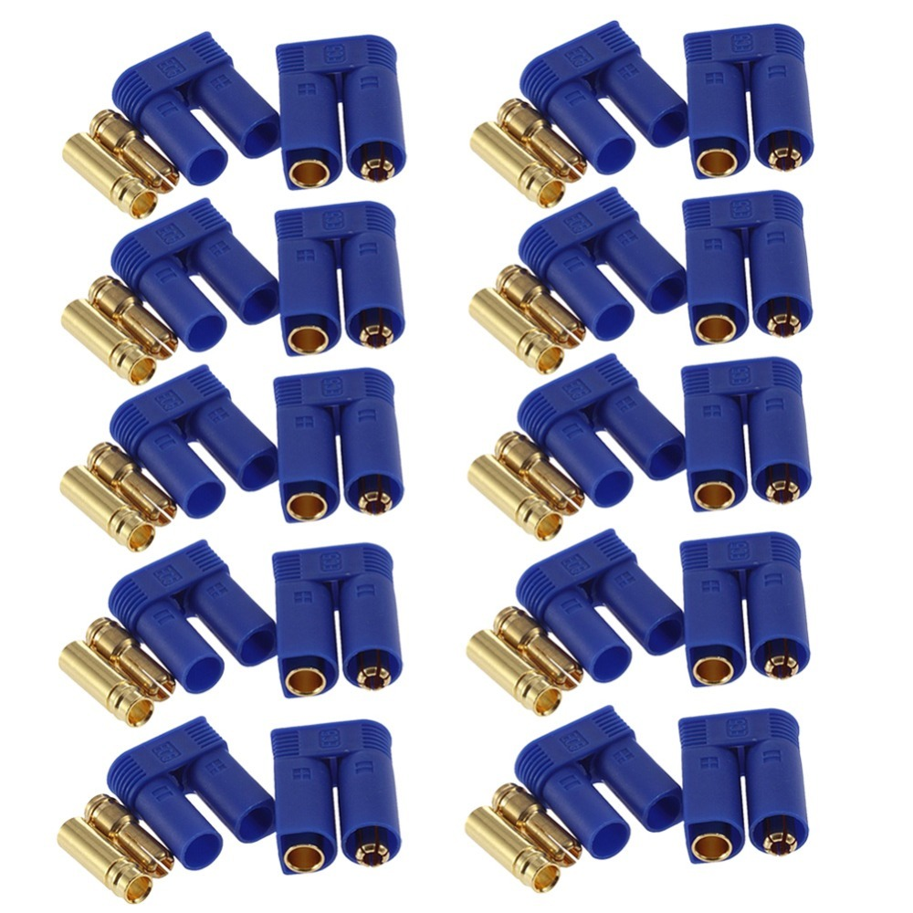 60pc 10 Pairs EC5 Device Connector Plug 5mm Banana plug for RC Plane Multicopter Quadcopter Airplane Helicopter RC plug parts xt60 connector plug holder mount for qav250 zmr250 h250 series quadcopter multicopter