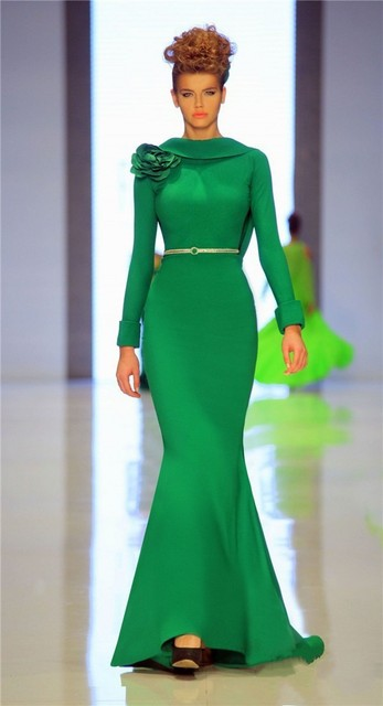 Sin respaldo Mangas Largas Regulares Modelo Muestran Vestido de Sash Satén de La Sirena Vestidos 2016 Verde Cowl Volver Flores Celebrity Dress 0855