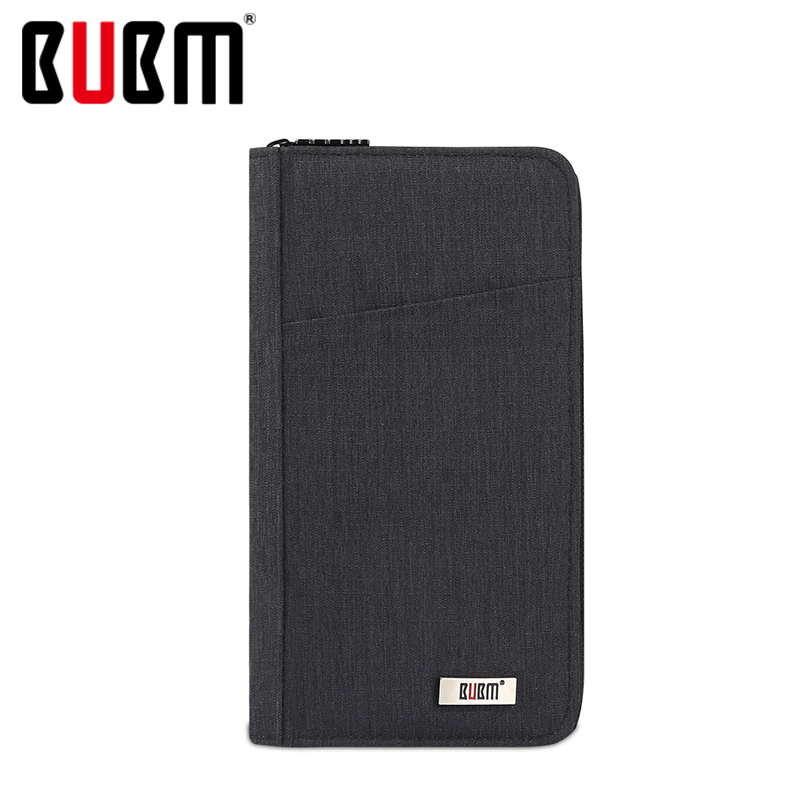 BUBM Passport Wallet Receiving Bag Multifunctional Certificate Bag Black Green Gray Blue For Travel Money Travel Accessories