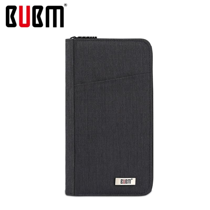 BUBM Passport Wallet Receiving Bag Multifunctional Certificate Bag Black Green Gray Blue For Travel Money Travel Accessories